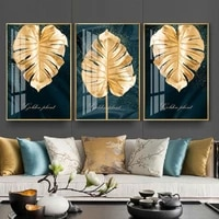 living room gold leaves wall art prints canvas paintings nordic luxury wall art posters decorative wall art prints home decor