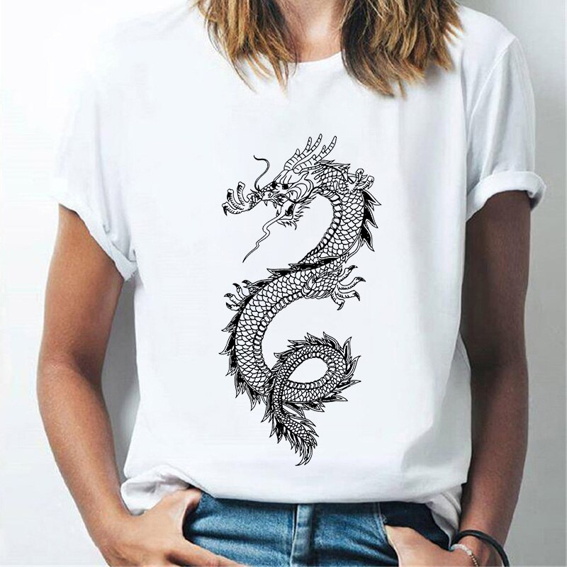 Новинка 2021, женская футболка с принтом дракона властителя, модная женская одежда в стиле Харадзюку С кактусами, весна-лето