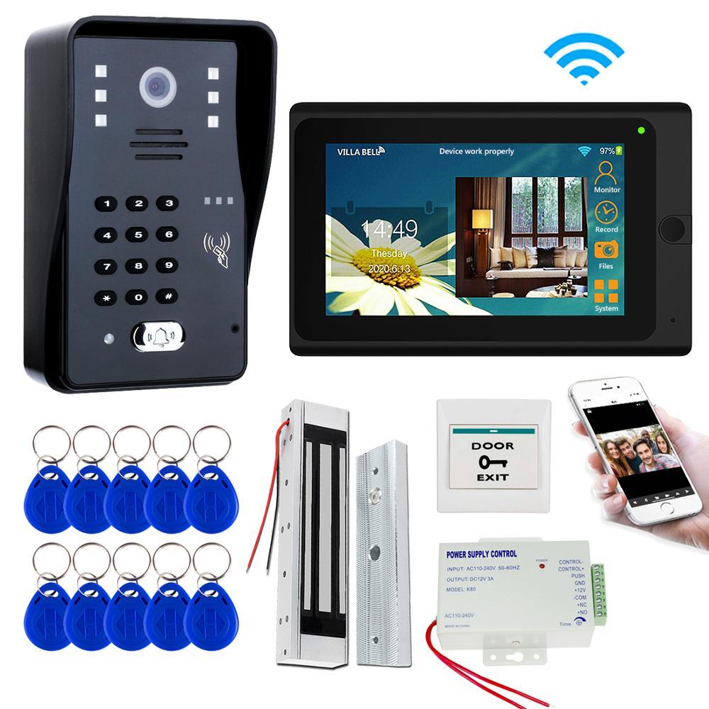 Sistema de videoportero Wifi de 7 pulgadas, videoportero, Kit de teléfono con bloqueo + encendido + botón, Teléfono Móvil APP RFID Keyfob, desbloqueo de contraseña