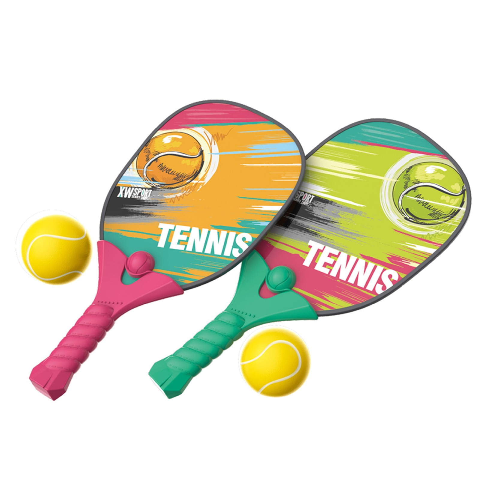 Kids Beach Tennis Paddle Racket with Balls Pickleball Racket Set Safe Outdoor Beach Play Sport Toys for Children