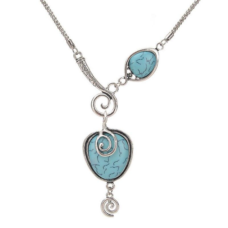 Estilo étnico vintage pingente colar para mulher boêmio temperamento exagerado irregular geométrico azul colar de pedra
