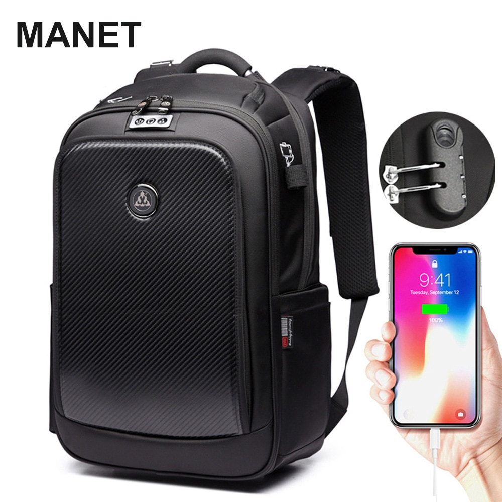 مانيت مكافحة سرقة محمول على ظهره 14 بوصة سعة كبيرة حقيبة للرجال USB شحن الأعمال مقاوم للماء حقيبة السفر mochila
