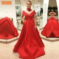 elegant red v neck evening dresses off shoulder satin pleat a line formal dress long 2020 floor length sexy women evening gowns