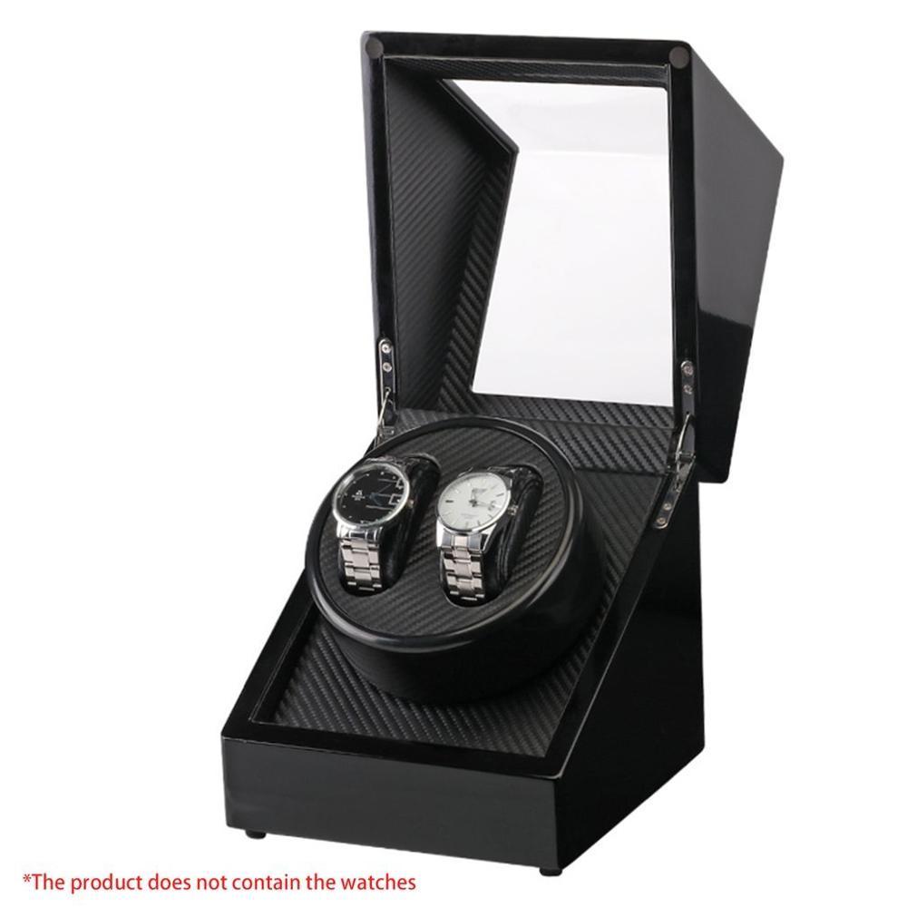 Negro lacado de madera Piano brillante Negro fibra de carbono doble reloj bobinadora caja Motor almacenamiento estuche de exposición US PLUG Watch Shaker