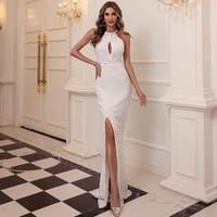 dresses woman summer 2021 banquet sequin evening dress skirt elegant temperament sexy halter neck fishtail long skirt dresses
