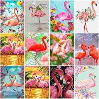 5d diy daimond painting cross stitch flamingo full square round animal diamond embroidery rhinestones paintings new year gift