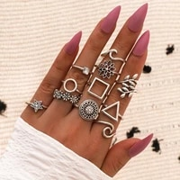 11 pcs set retro trend geometric ring silver flower wave star square round leaf pattern multi element ring set for women gift