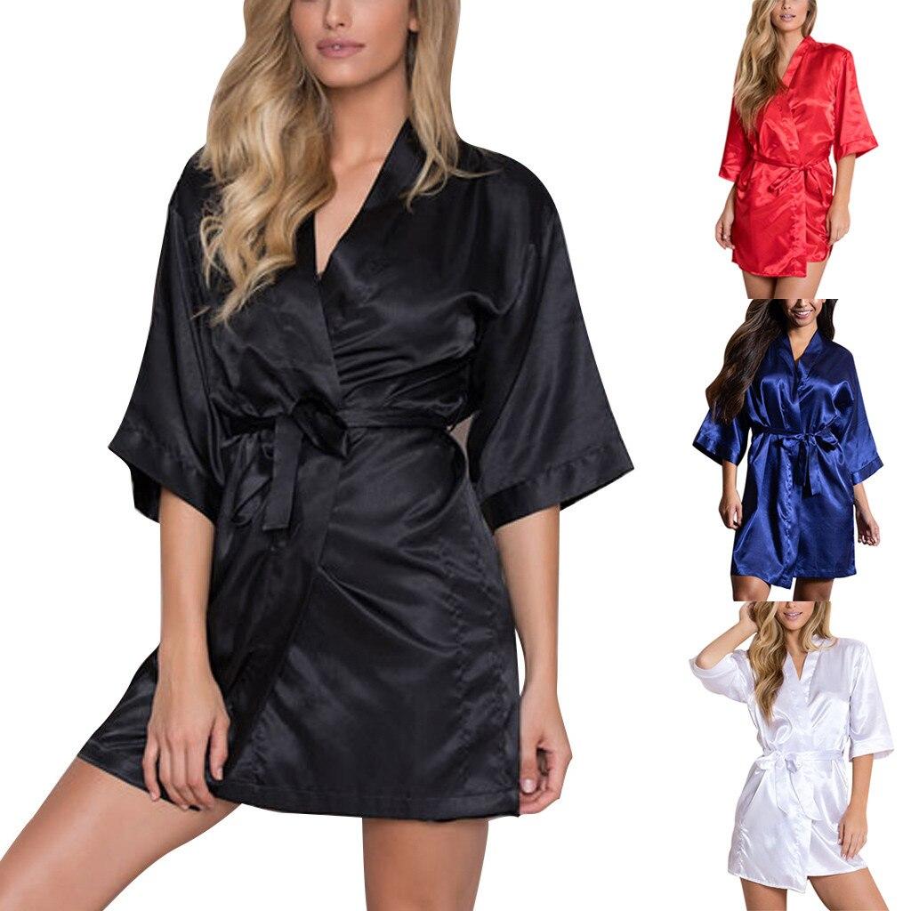 Женское сексуальное сатиновое ночное белье с коротким рукавом, ночное белье, ночная сорочка, банные халаты для женщин albornoz mujer