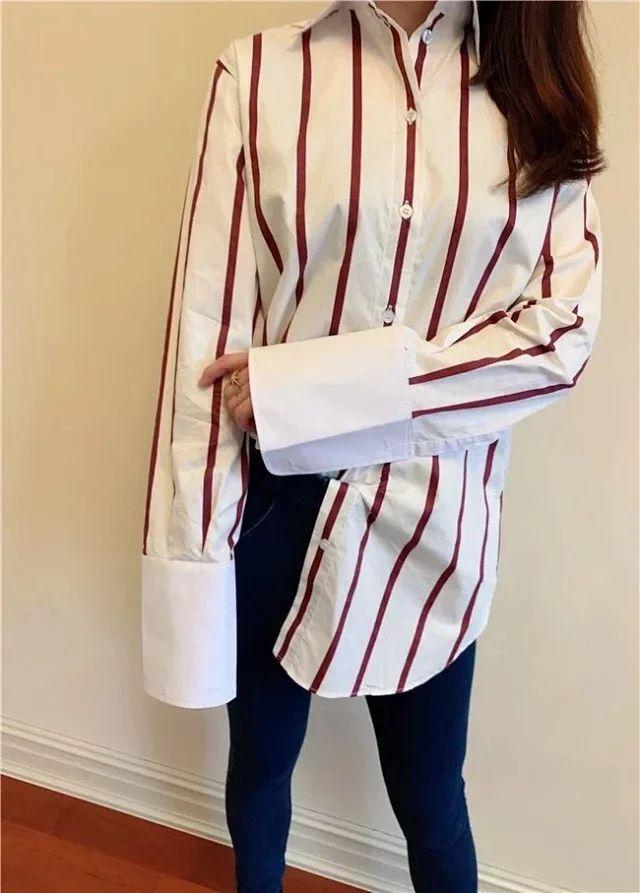 الشمال العنق التطريز شعار أحمر أبيض شريط فضفاض القطن قميص الأكمام بلوزة نمط زر أسفل قميص