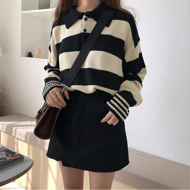 Harajuku Striped Hit Color Women Kintted Sweater Long Sleeve Casual Loose Female Pullover Top 2019 Spring Autumn Female Jumper enlarge