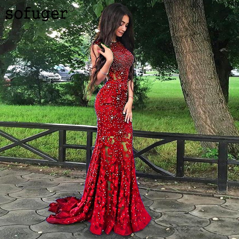 slive sequin formal dresses evening gown elegant long evening dresses evening dress arabic special occasion dresses es2062 Bling Red Cryatals Lace Mermaid Evening Dresses Prom Africal Saudi Arabic Special Occasion Evening Formal Prom Party Gown