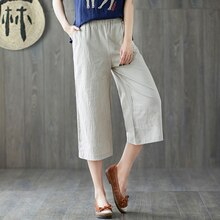 Cotton Linen Capri Pants Female Summer New Style Artistic Loose plus Size Elastic Waist Casual Versa