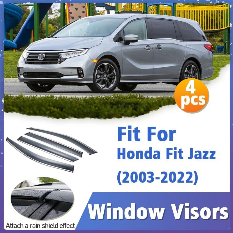 Window Visor Guard for Honda Fit Jazz 2003-2022 Vent Cover Trim Awnings Shelters Protection Deflector Rain Rhield 4pcs/SET
