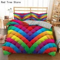 block bedding set rainbow print duvet cover set kids bedclothes 3d colorful home textiles queen king twin size bed set drop ship