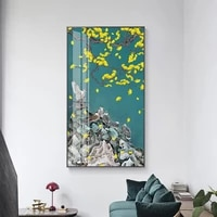 new chinese style poster yellow ginkgo leaf canvas painting on the wall modern home decorative pictures wall art for porch room