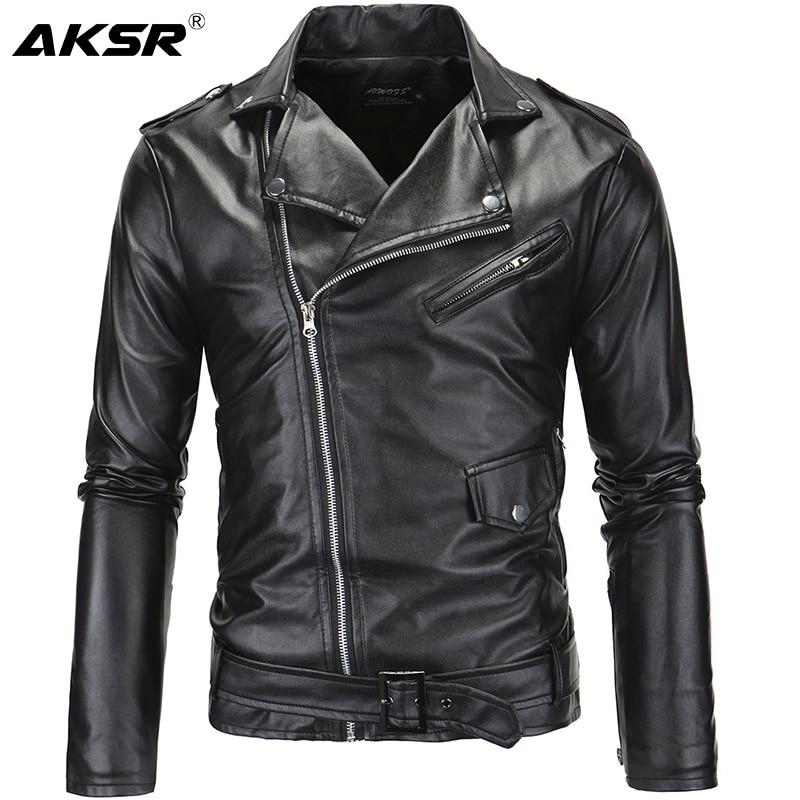 AKSR Men's Leather Jacket Stand Collar Cropped Diagonal Zipper Punk Style Casual Slim Jacket Faux Fur Coat Men Hot Size M-4XL