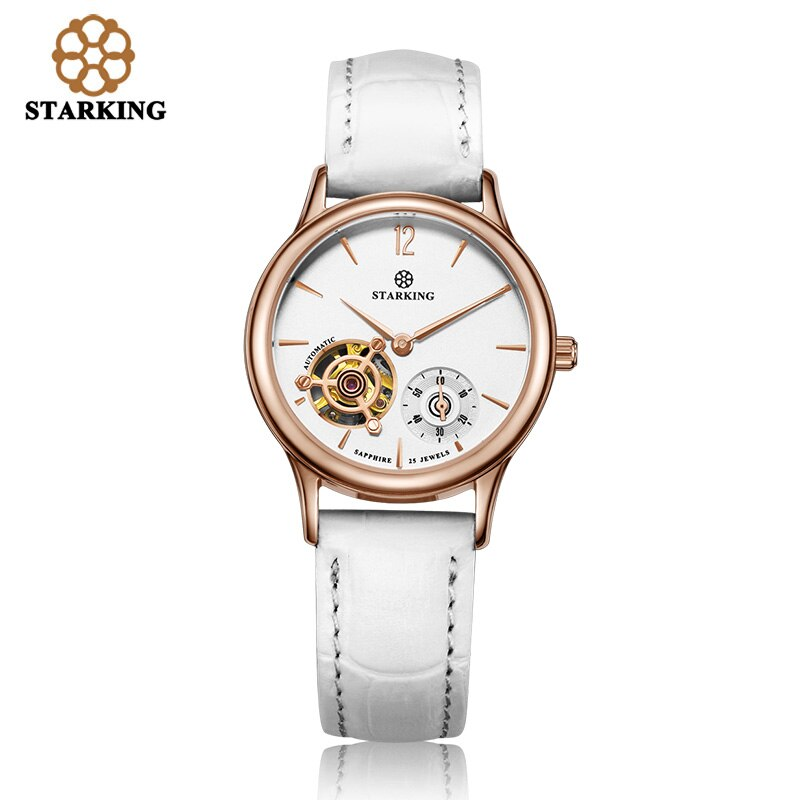 STARKING Mechanical Women Wristwatches Red Leather Skeleton Analog Automatic Watches Famous Brand Watch Relogio Feminino Clock enlarge