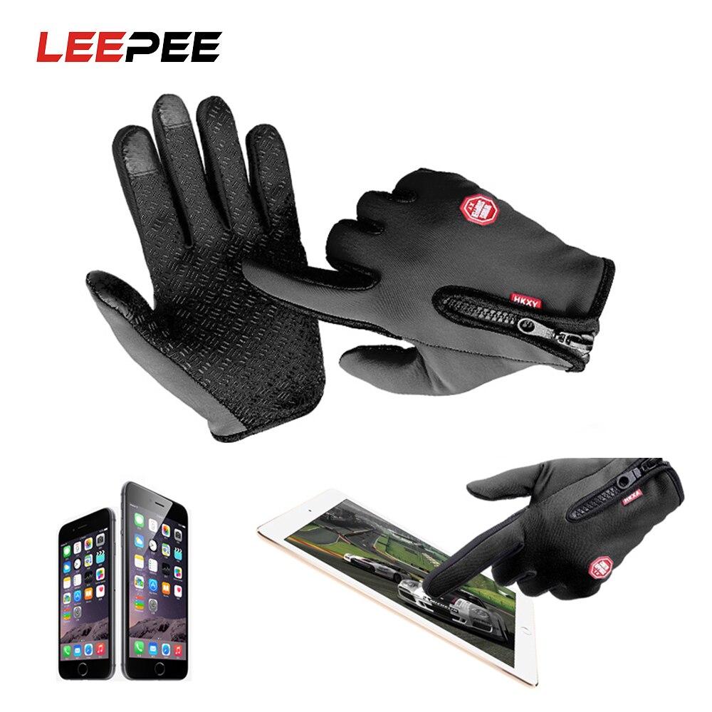 Перчатки для мотоциклистов LEEPEE, теплые зимние перчатки для езды на велосипеде с сенсорным экраном, Размеры M, L, XL