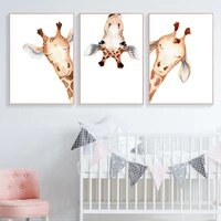 minimalism giraffe animal portrait dream wall art canvas painting nordic posters and prints wall pictures kids kawaii room decor