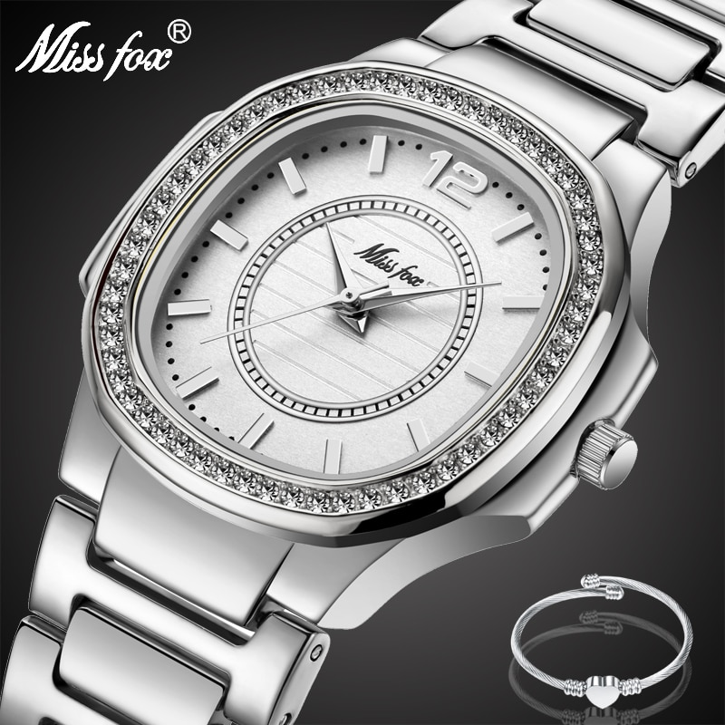 MISSFOX Silver-Tone Watches for Women Water Resistant Accented Bracelet Diamond Womens Silver Watch Analog Quartz Wrist Watch enlarge