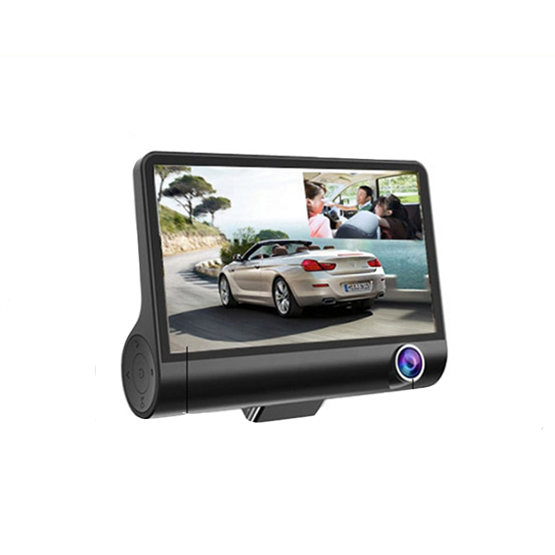 Lente de cámaras de coche 4,0 pulgadas cámara de salpicadero lente Dual con cámara de vídeo Auto Grado Gran Angular grabadora de vídeo de coche con 3 cámaras caliente