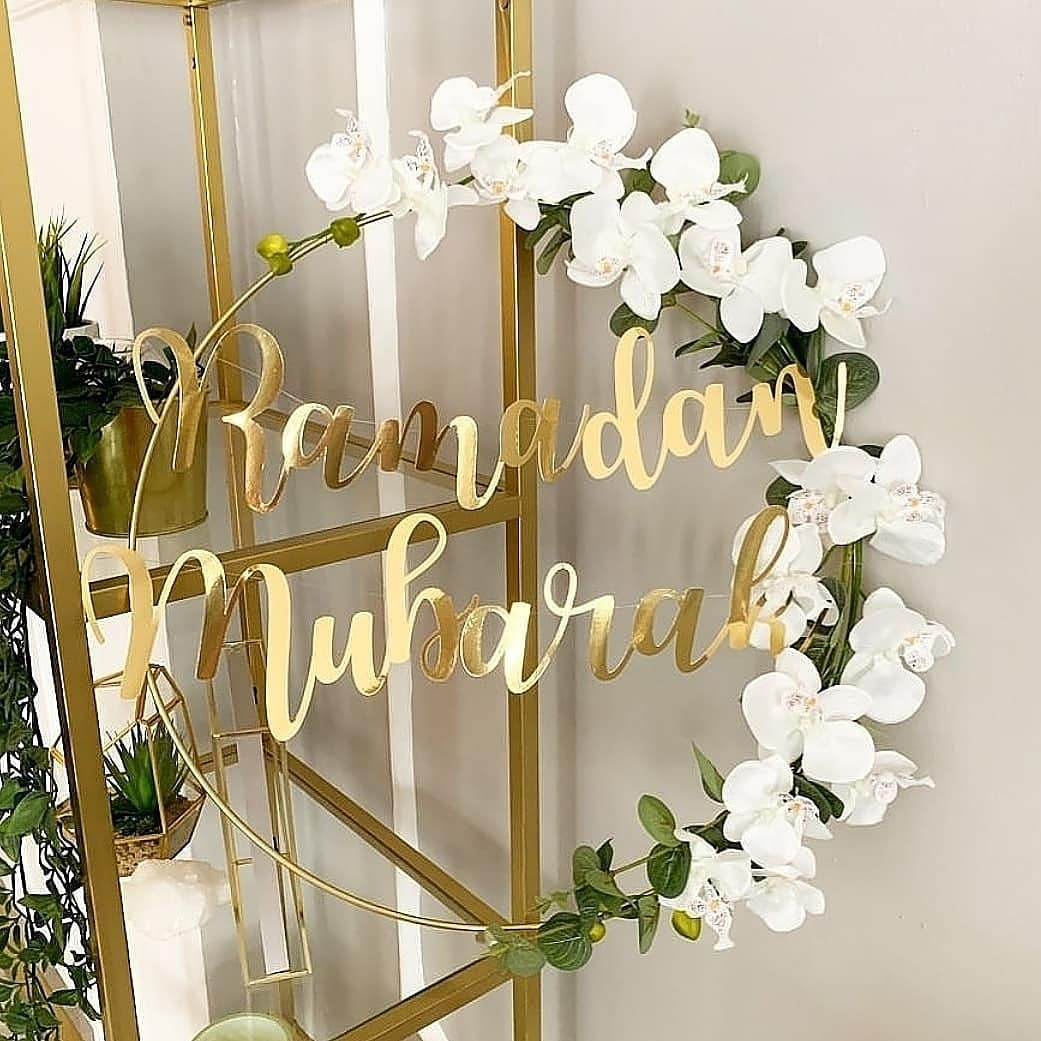 1 Set DIY 10-40cm Iron Metal Ring Wooden Crafts Garland Flowers for Eid Mubarak Ramadan Party Decora