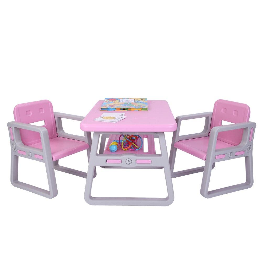 Juego de mesa y sillas para niños pequeños Lego lectura 2 asientos con 1 juegos de mesas Silla de escritorio muebles para niños-Stock de EE. UU.