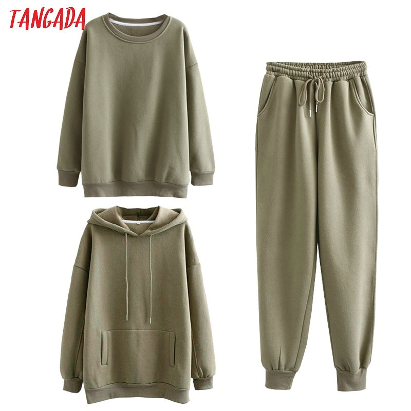 Tangada Women couple sweatshirt fleece 100% cotton amygreen oversized hood hoodies sweatshirts plus size SD60