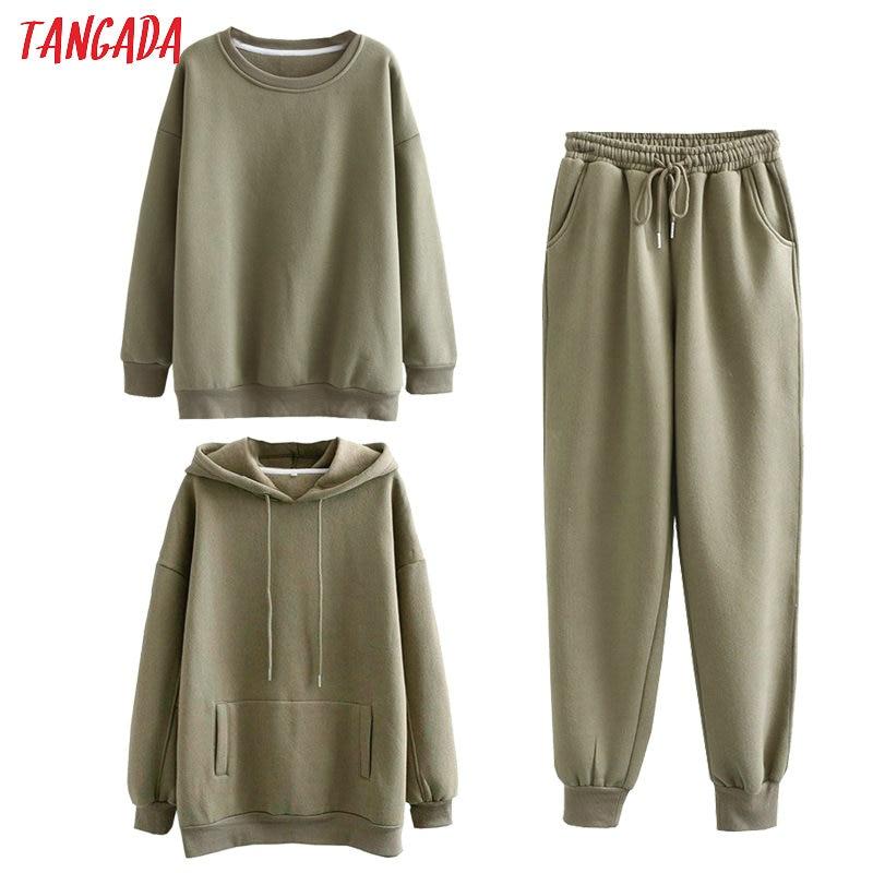 Tangada Women couple sweatshirt fleece 100% cotton amygreen oversized hood hoodies sweatshirts plus size SD60