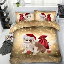 3pcs cartoon Christmas kitten puppy duvet cover set for kids teens adult xmas present Single Full Queen king size bedding