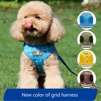 pet harness vest style pet chest harness set polyester breathable reflective chest back small medium pets cat dog traction rope