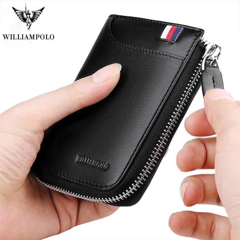 Cartera para hombre de piel auténtica con cremallera informal, pequeña cartera para tarjetas de crédito, minimalista de hombre