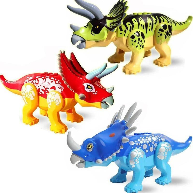 2 sets jurassic world tyrannosaurus building blocks jurrassic dinosaur figures bricks qunlong zoo toy for kids Jurassic World 2 Dinosaur Building Blocks Triceratops Dinosaur Action Figures Bricks Toys Gift Compatible Brands
