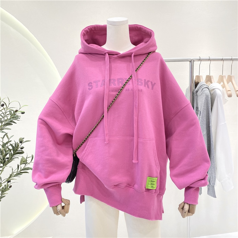 Plus Size Women's Casual Hoodies Jumpers 2021 Spring Plain Letter Print Hooded Sweatshirts Oversized Pullovers Coats