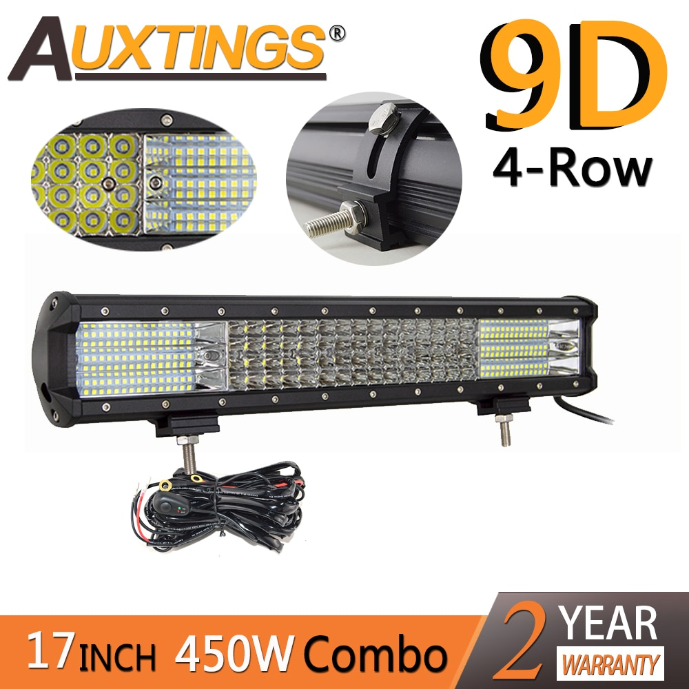Auxeds 17 pulgadas 450w 17 quad rows soporte movible Led trabajo luz alta potencia 9D LED barra de luz fuera de carretera 4x4 Luz de coche 12V 24V