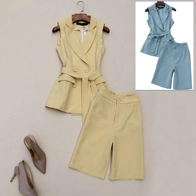 2 قطعة مجموعة النساء الصيف جديد الأزياء بدلة الإناث مزاجه ركاب متعرجة سترة مع خمسة قطعة السراويل اثنين-قطعة مجموعة