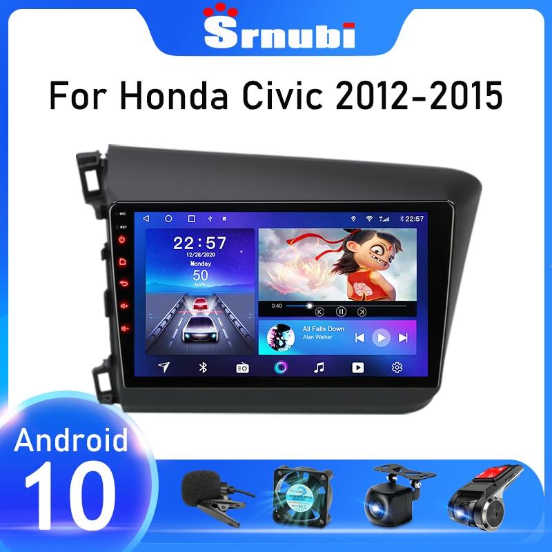 Srnubi أندرويد 10 راديو السيارة لهوندا سيفيك 2012 2013 2014 2015 مشغل فيديو متعدد الوسائط 2 Din الملاحة لتحديد المواقع وحدة رئيس Autoradio