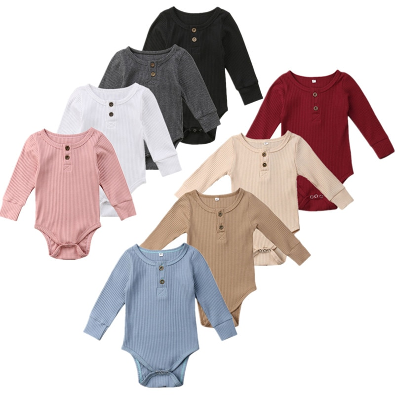 8Color Baby Girls Clothes Basic Pure Color Outfit Long Sleeve Cotton Romper Baby Solid Jumpsuit  Clothing