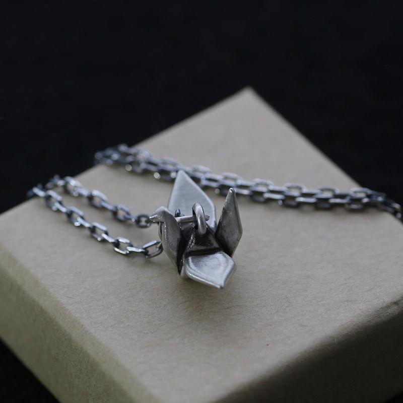 جديد S925 قلادة فضية الاسترليني الرجعية Crane كرين قلادة بسيطة الرجال والنساء هدايا مجوهرات اكسسوارات