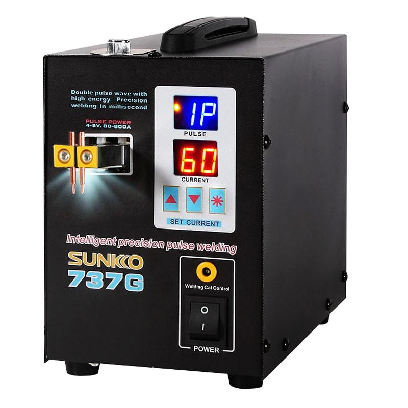 SUNKKO 737G 1.5kw ماكينة لحام نقطي LED عرض الدقة نبض البطارية بقعة لحام لحام 18650 بطارية وشريط النيكل