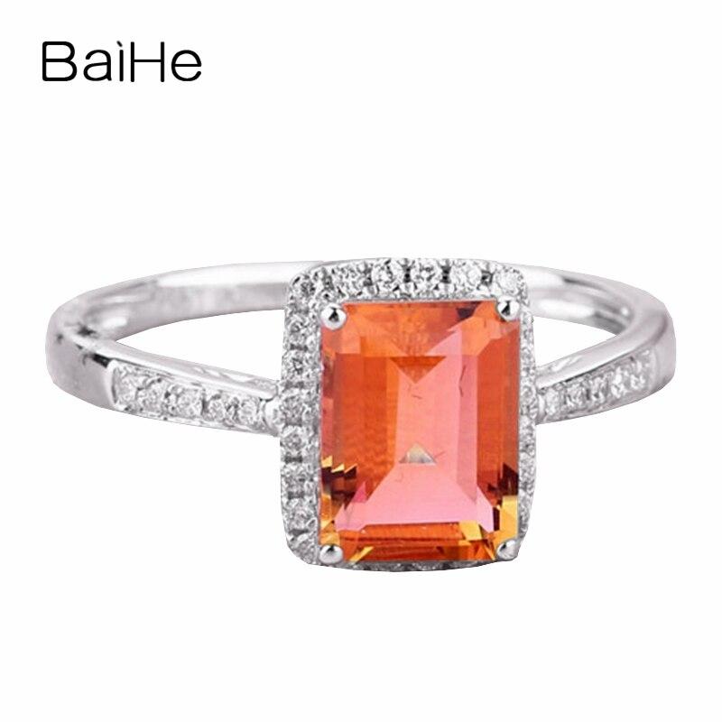 BAIHE 5x7mm anillo de Esmeralda citrino, diamante Natural sólido 14k oro blanco, anillo de compromiso, banda de boda