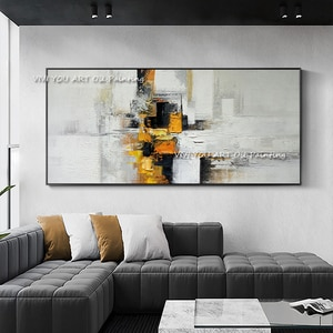 The Fashion Handmade Large Palette Abstract Oil Painting On Canvas Knife Painting Yellow Square New Wall Art Decor for Office