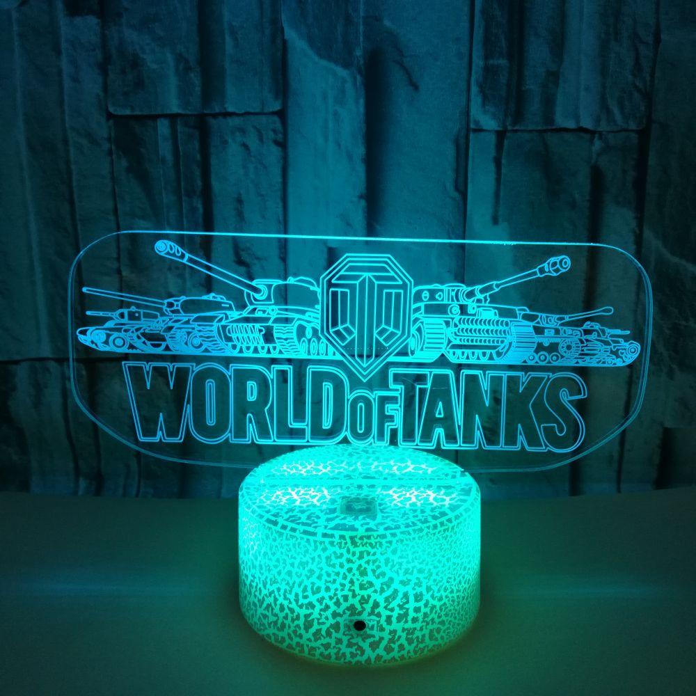 Светодиодный Цвет изменение сенсорный Сенсор ночной Светильник для детей ребенок Украшения в спальню World Of Tanks игра, приз идеи Usb настольная ...