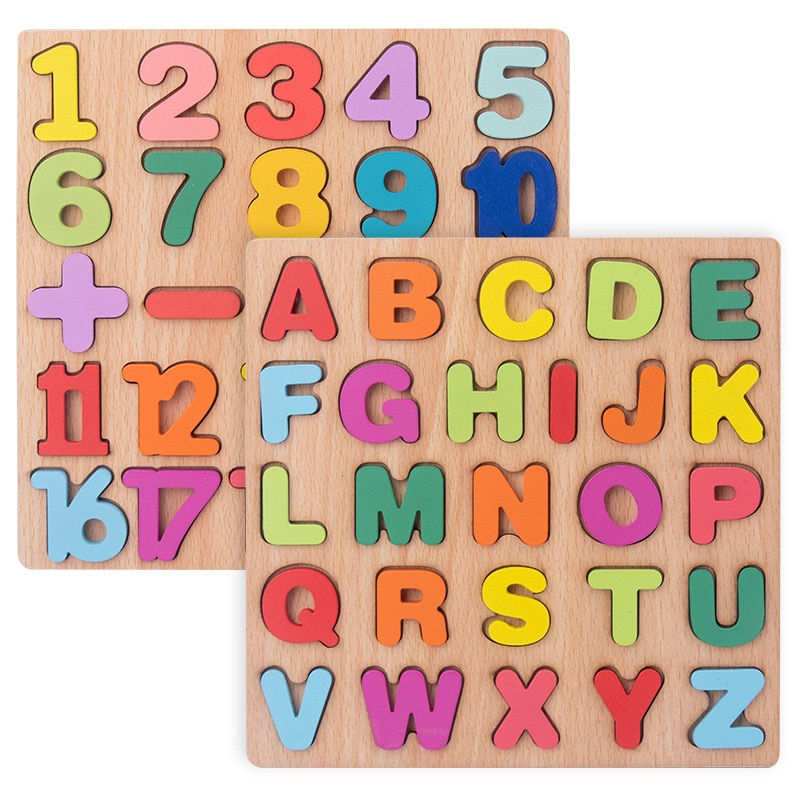 Digital Alphabet Wooden Puzzle Toys Early Learning Colorful Jigsaw Number Letter Preschool Baby Math