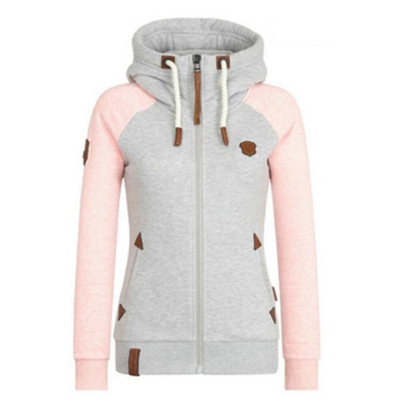 2019 frauen Mode Neue Hoodie Jacke Zip Kragen Zipper Sweatshirts Langarm Pullover Trainingsanzüge xxxxl Hoodies