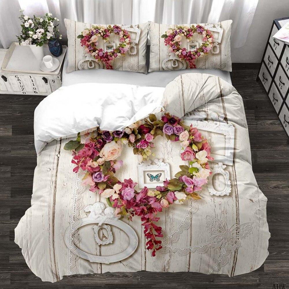 زهرة الورد عيد الحب ثلاثية الأبعاد الطباعة الوردي المعزي طقم سرير الحب القلب فلامنغو حاف مجموعة غطاء فاخر للكبار