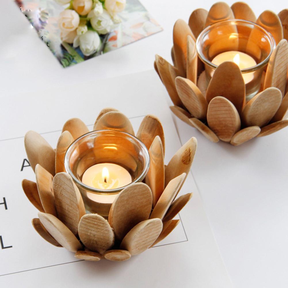 Portavelas de madera de pétalo de loto para taza de cristal, candelabro clásico Retro hecho a mano, adornos para manualidades de escritorio para el hogar, accesorios para fotos