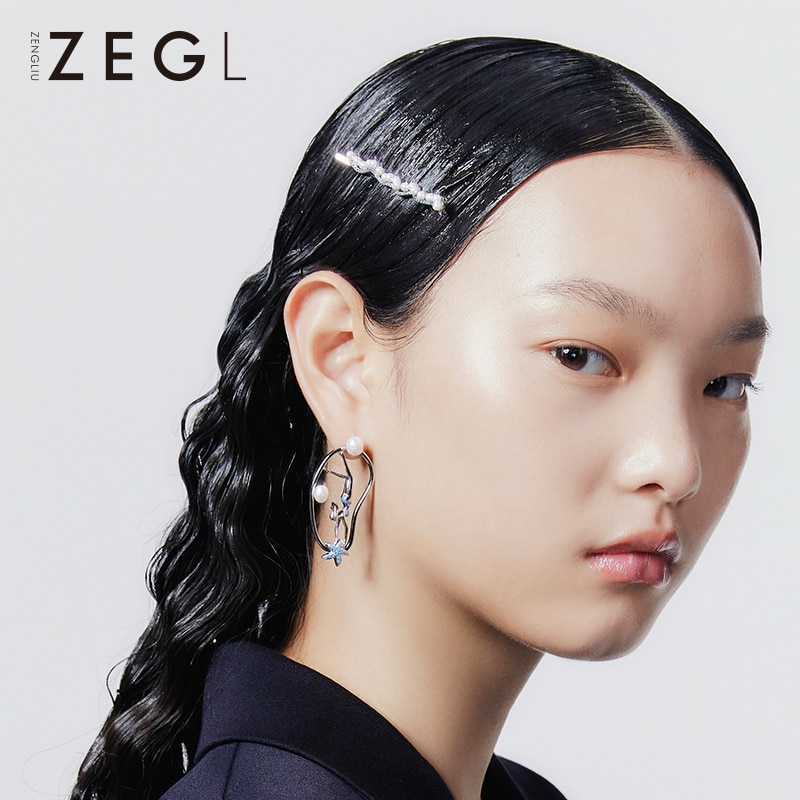 ZENGLIU Designer Imitation Pearl Wavy Barrettes Female Elegant Simple Hair Clip Long Clip Vintage He