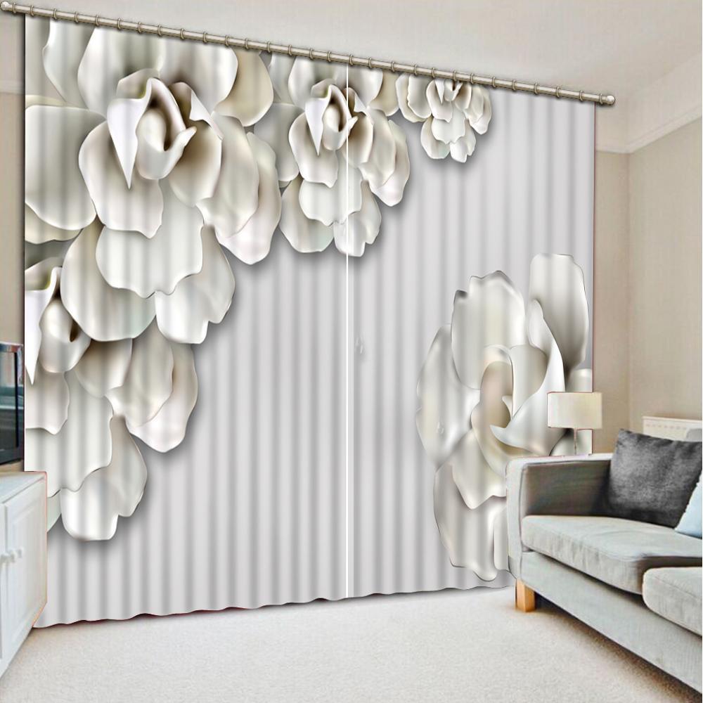 Hermosa cortina Blackout 3D de flores blancas para sala de estar dormitorio ducha habitación decoración del hogar ventana falda de cortina térmica
