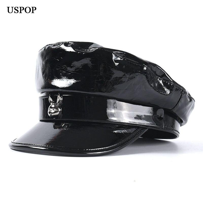 USPOP, nuevo diseño, gorras de mujer, PU suave brillante, gorras de newsboy, negro, blanco, visera plana, gorras, gorra militar de moda
